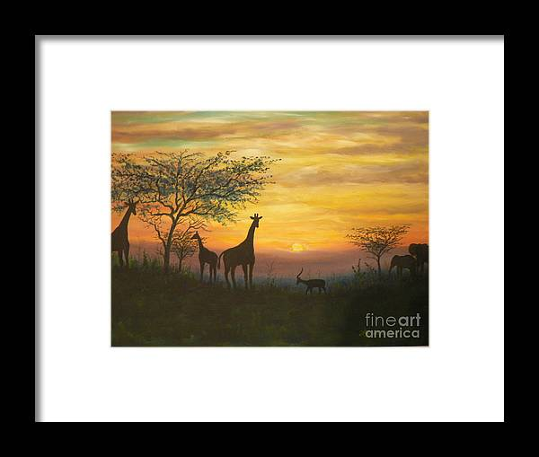 African Framed Print featuring the painting African Sunset by Don Lindemann
