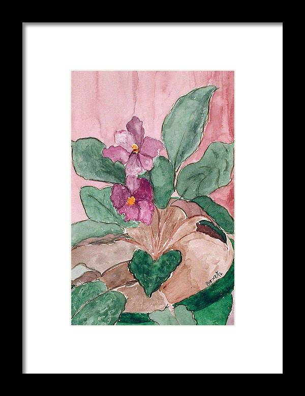 Watercolor Framed Print featuring the painting African Violet by Margie Byrne