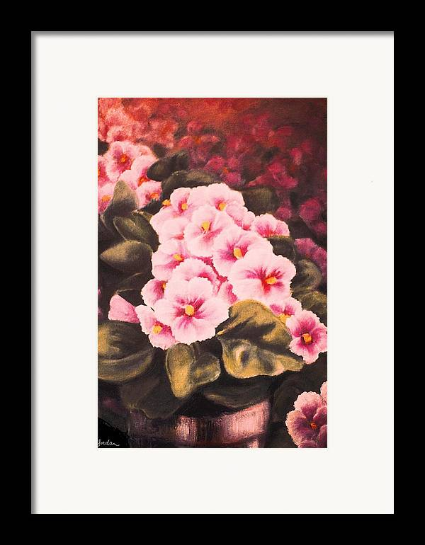 African Violets Framed Print featuring the painting African Violets by Jordana Sands