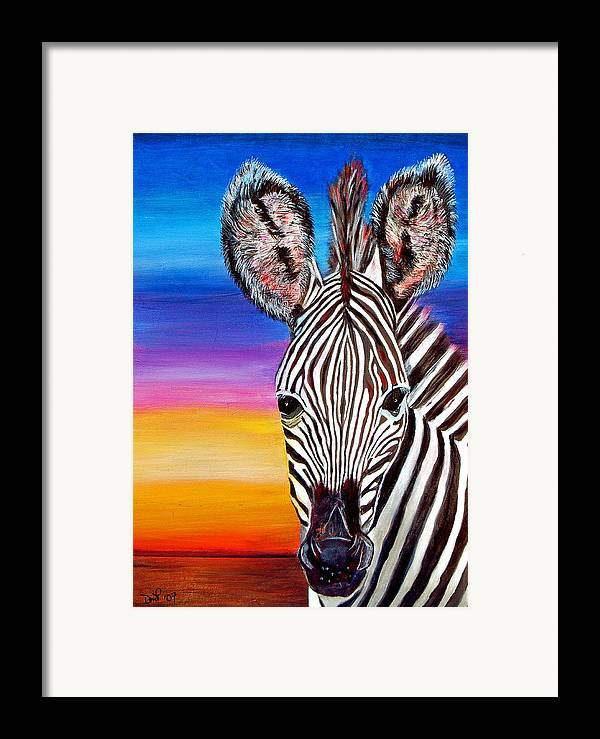 Zebra Framed Print featuring the painting African Zebra Aura by Donna Proctor