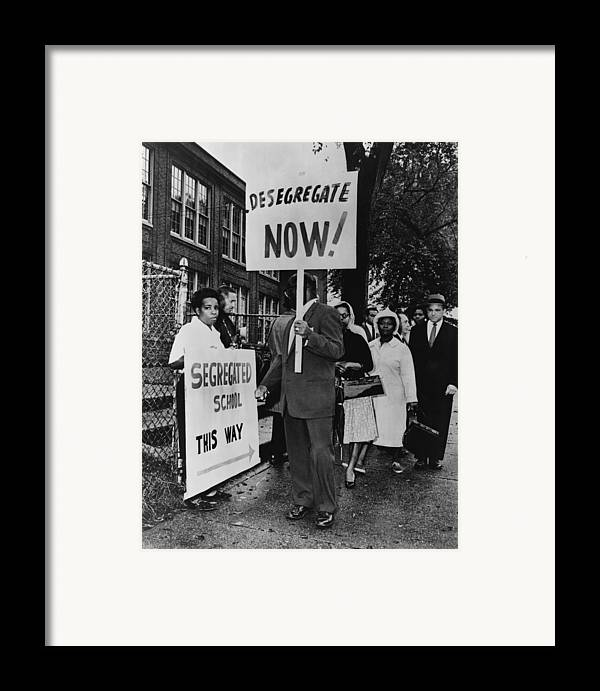 History Framed Print featuring the photograph Africans American Protest School by Everett