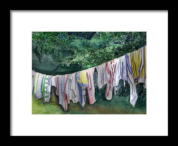 Clothes Framed Print featuring the painting After A Day At The Beach by Diana Davenport