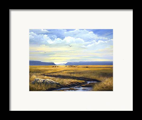 Landscape Framed Print featuring the painting After A Hard Rain by Brooke Lyman