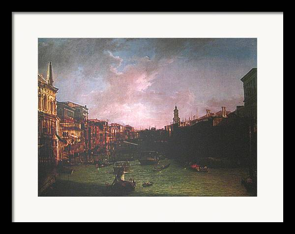 Landscape Framed Print featuring the painting After Canal Grande Looking Northeast by Hyper - Canaletto