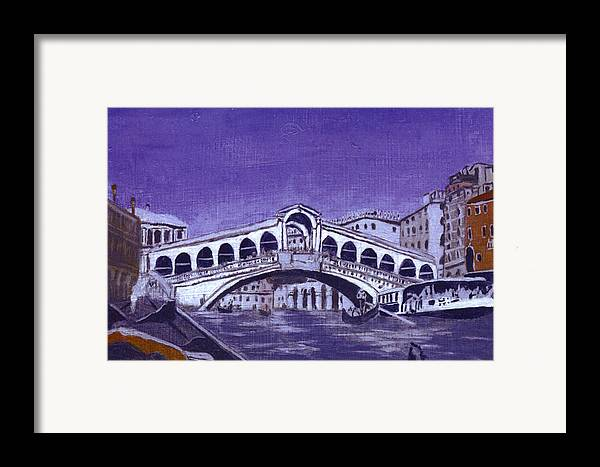 Landscape Framed Print featuring the painting After Canal Grande With The Rialto Bridge by Hyper - Canaletto