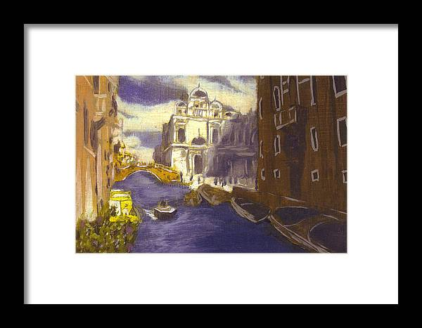 Landscape Framed Print featuring the painting After Church Of Santi Giovanni E Paolo With The School Of St. Mark by Hyper - Canaletto
