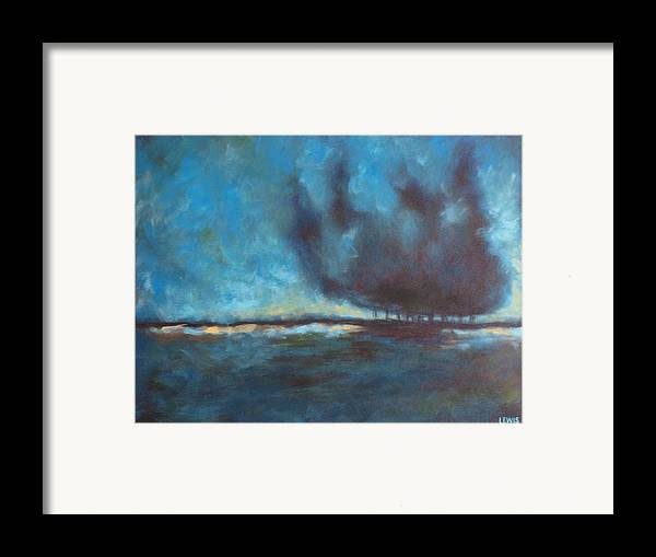 Blue Framed Print featuring the painting After by Ellen Lewis