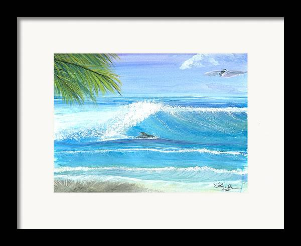 Dolphin Surfing Framed Print featuring the mixed media After Lunch Session by Laura Johnson