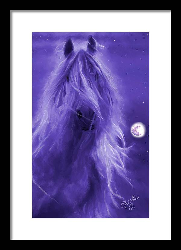 Purple Framed Print featuring the painting After Midnight by Elzire S