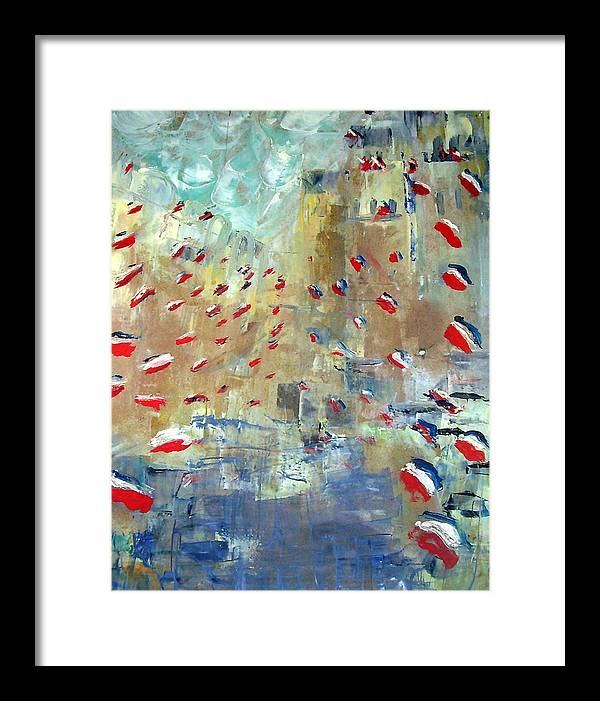 Patriotism Framed Print featuring the painting After Monet's Rue Montorgueil by Michela Akers