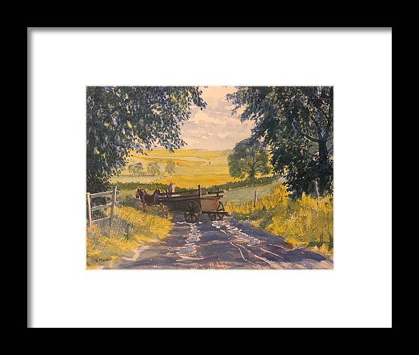 Glenn Marshall Yorkshire Artist Framed Print featuring the painting After Rain On The Wolds Way by Glenn Marshall