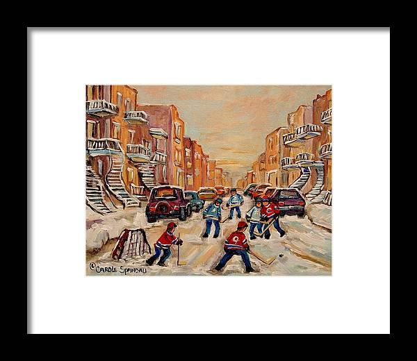 After School Hockey Game Framed Print featuring the painting After School Hockey Game by Carole Spandau