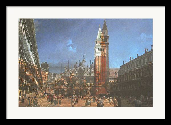 Landscape Framed Print featuring the painting After St. Mark's Square by Hyper - Canaletto