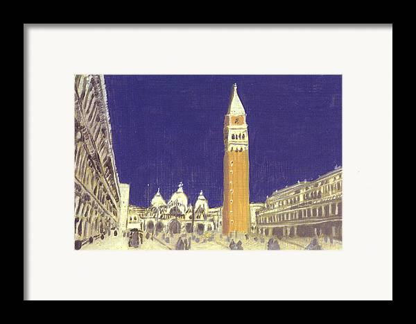 Landscape Framed Print featuring the painting After St. Mark's Square Towards The Basilica by Hyper - Canaletto