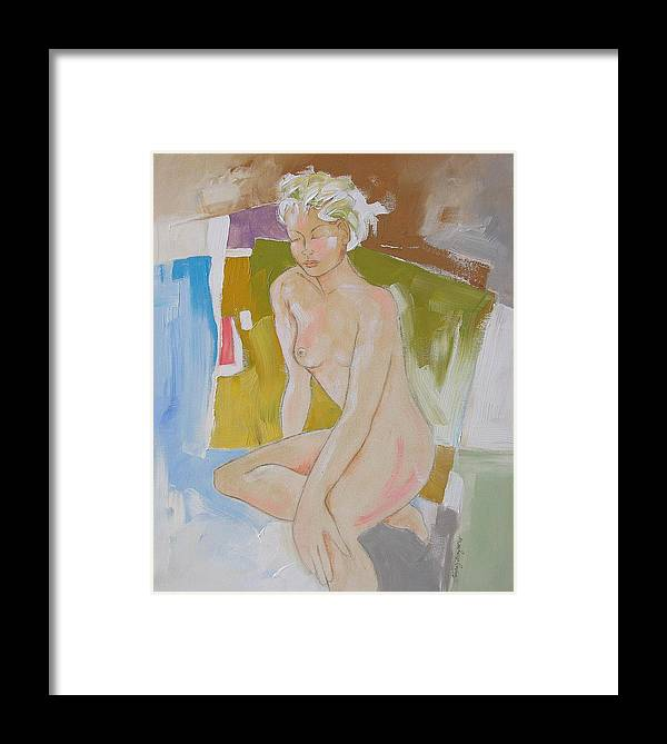 Abstract Framed Print featuring the painting After The Bath by Linda Monfort