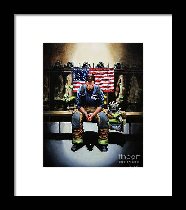 Firefighter Framed Print featuring the painting After the Fire by Paul Walsh