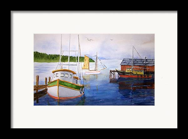 Puget Sound Framed Print featuring the painting After The Fishing Is Done by Robert Thomaston