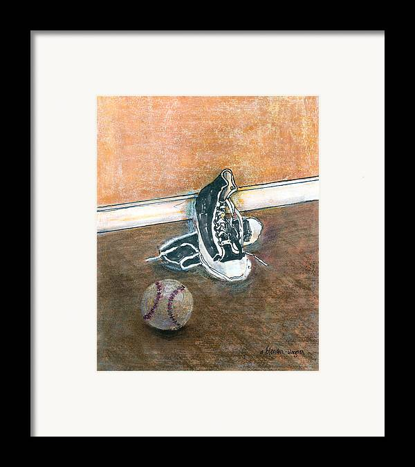 Tennis Shoes Framed Print featuring the mixed media After The Game by Arline Wagner