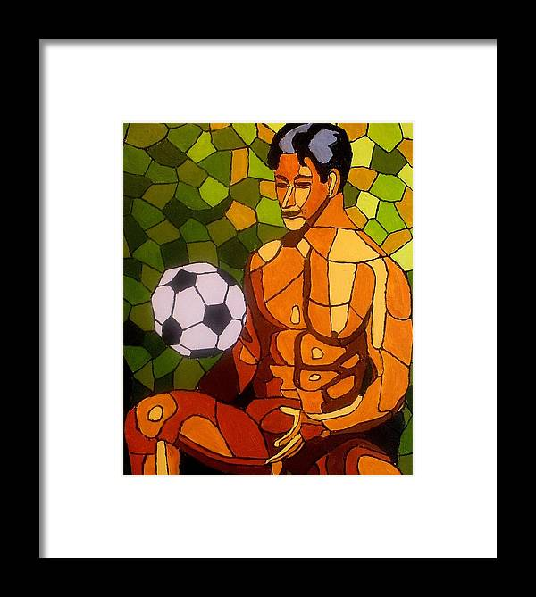 Nude Man Framed Print featuring the painting After The Game by Mats Eriksson