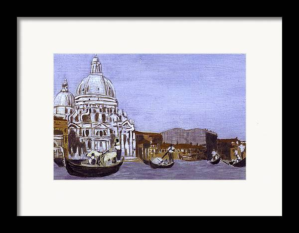 Landscape Framed Print featuring the painting After The Grand Canal And The Church Of The Salute by Hyper - Canaletto
