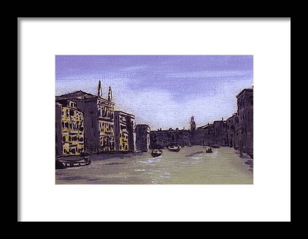 Landscape Framed Print featuring the painting After The Grand Canal From Campo San Vio Near The Rialto Bridge by Hyper - Canaletto
