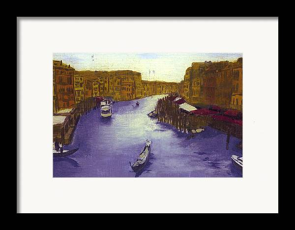 Landscape Framed Print featuring the painting After The Grand Canal From The Rialto Bridge by Hyper - Canaletto