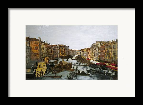 Landscape Framed Print featuring the painting After The Grand Canal by Hyper - Canaletto