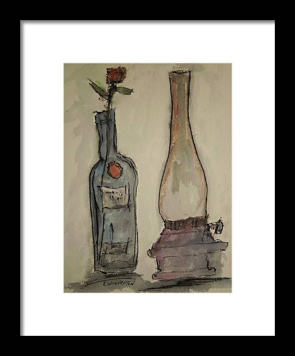Bottle Framed Print featuring the drawing After The Lights Went Out by Edward Wolverton