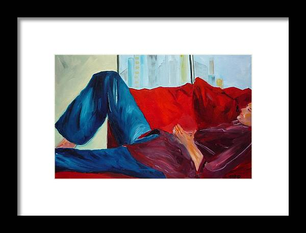 Figurative Framed Print featuring the painting After The Party by Irit Bourla