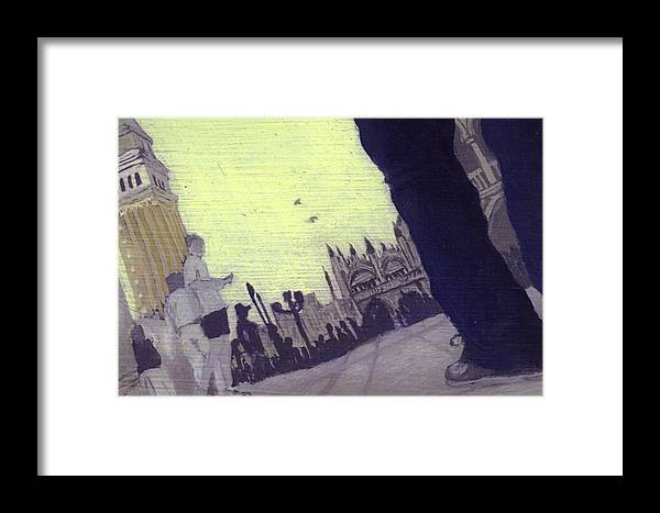 Landscape Framed Print featuring the painting After The Piazzetta Towards The Torre Dell by Hyper - Canaletto