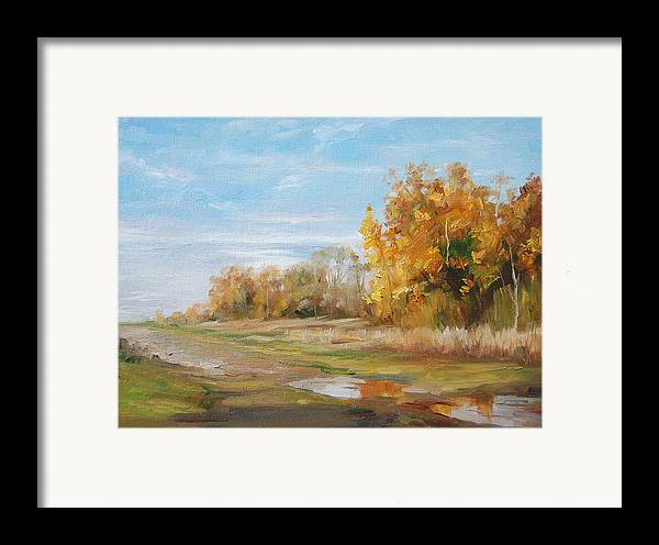 Landscape Framed Print featuring the painting After The Rain by Kelvin Lei