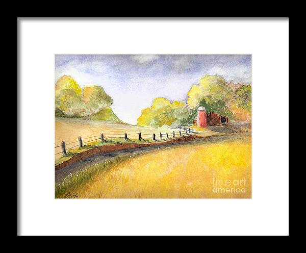 Landscape Framed Print featuring the painting After The Rain by Vivian Mosley