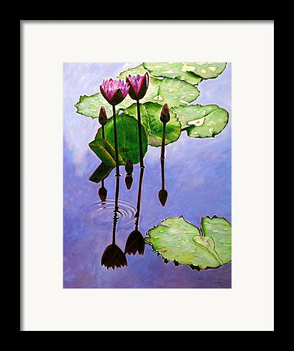 Rose Colored Water Lilies After A Morning Shower With Dark Reflections And Water Ripple. Framed Print featuring the painting After The Shower by John Lautermilch