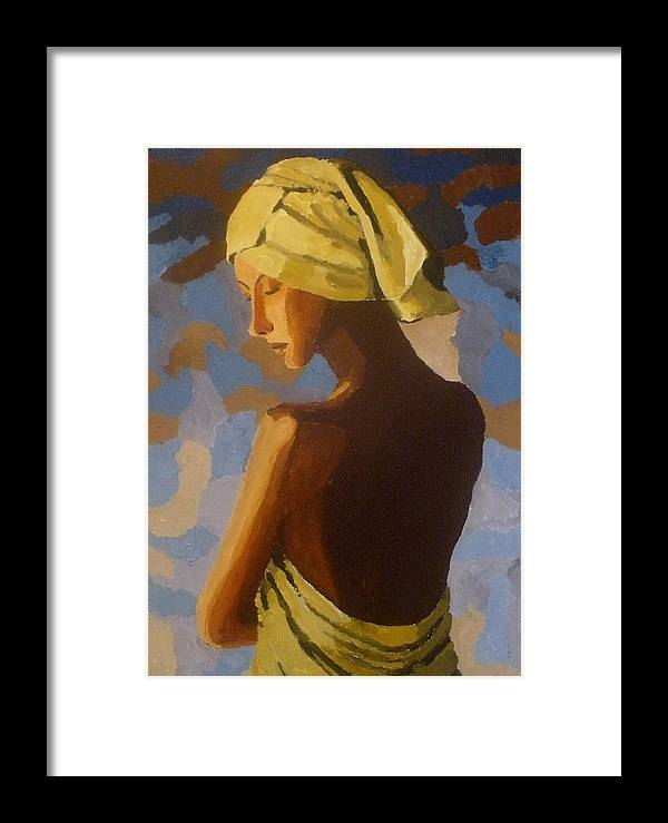 Portrait Framed Print featuring the painting After The Shower by Mats Eriksson