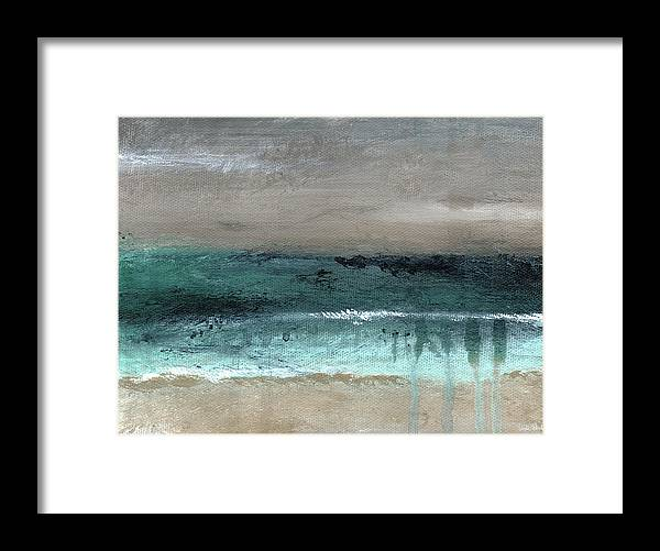 Beach Framed Print featuring the mixed media After The Storm 2- Abstract Beach Landscape By Linda Woods by Linda Woods