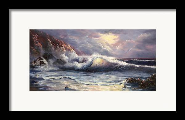 Ocean Framed Print featuring the painting After The Storm by Joni McPherson