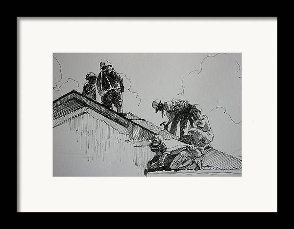 Pen And Ink Framed Print featuring the drawing After The Storm by Michael Vires
