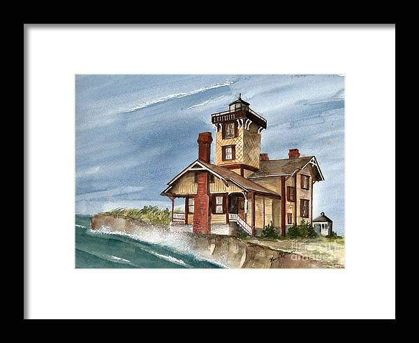 Hereford Inlet Lighthouse Framed Print featuring the painting After The Storm by Nancy Patterson