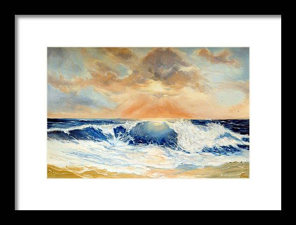 Seascape Framed Print featuring the painting After The Storm by Rosemary Tyler