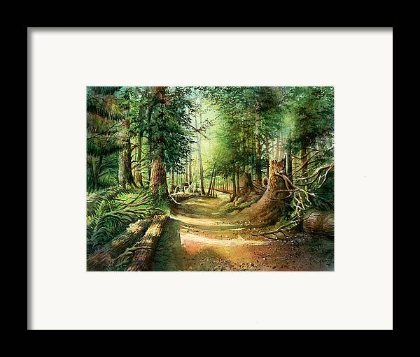 Landscape Framed Print featuring the painting After The Storm Stanley Park by Dumitru Barliga