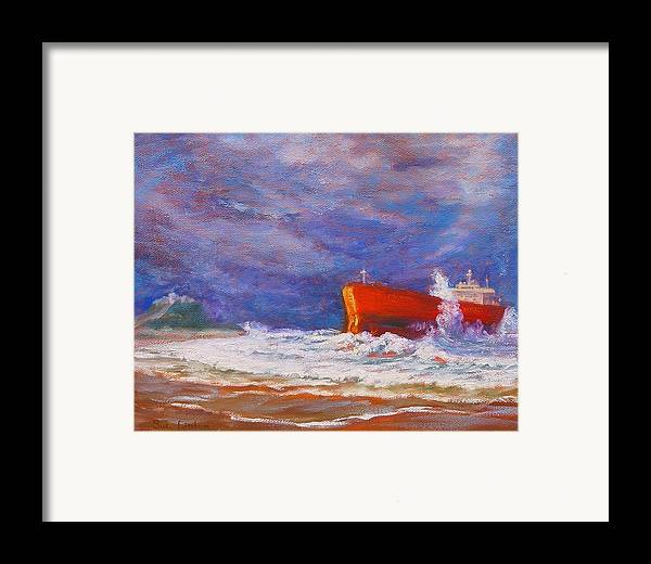 Pasha Bulker Tanker Stranded On Nobby Framed Print featuring the painting After The Storm by Sue Linton