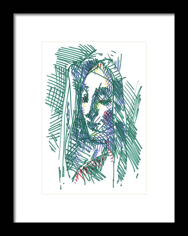 Womanb Framed Print featuring the drawing After Vermeer - Face Of Woman Holding A Balance by Peter Jochems