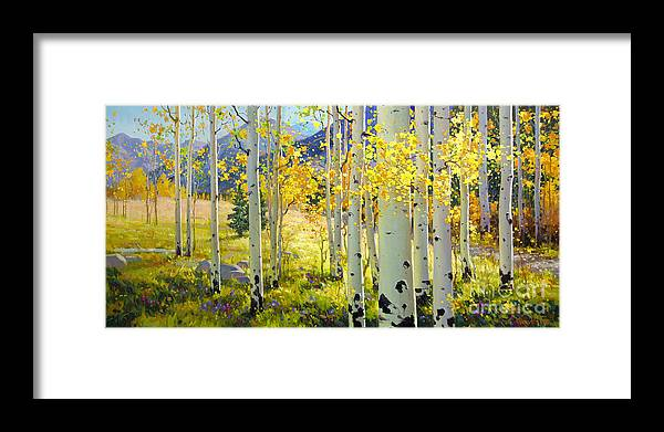 Aspen Oil Painting Birch Trees Gary Kim Oil Print Art Woods Fall Autumn Tree Panorama Sunset Beautiful Beauty Yellow Red Orange Fall Leaves Foliage Autumn Leaf Color Mountain Oil Painting Original Art Horizontal Landscape National Park America Morning Nature Wallpaper Outdoor Panoramic Peaceful Scenic Sky Sun Time Travel Vacation View Season Bright Autumn National Park Southwest Mountain Clouds Cloudy Landscape Afternoon Aspen Grove Natural Peak Painting Oil Original Vibrant Texture Reflections Framed Print featuring the painting Afternoon Aspen Grove by Gary Kim
