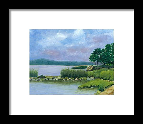 Seascape Framed Print featuring the painting Afternoon At Pilgrim by Paula Emery