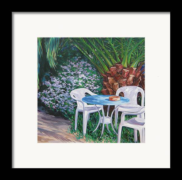 Palm Tree Framed Print featuring the painting Afternoon Break by Karen Doyle
