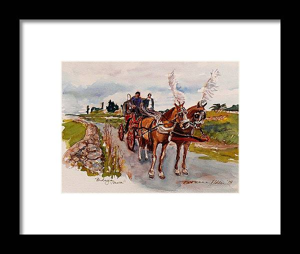 Landscape Framed Print featuring the painting Afternoon Coachride by Doranne Alden