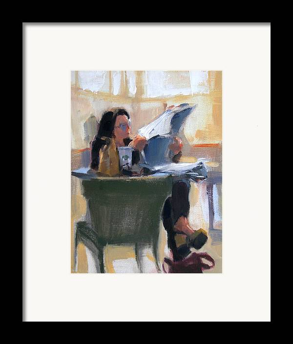 Figurative Framed Print featuring the painting Afternoon Coffee Break by Merle Keller