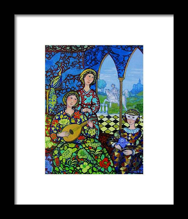 Medieval Framed Print featuring the painting Afternoon In Blue by Marilene Sawaf