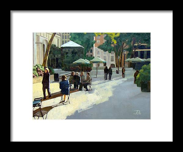Cityscape Framed Print featuring the painting Afternoon In Bryant Park by Tate Hamilton