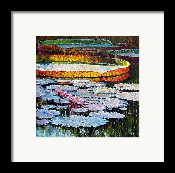 Water Lilies Framed Print featuring the painting Afternoon Shadows by John Lautermilch